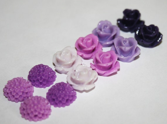 12 Piece Shades of Purple  Mix 10mm Rosette and Dahlia Mum Cabochons Great for Earrings and Bobby Pins DIY Jewelry Making
