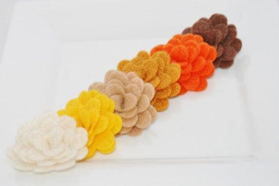 6 Handmade 1 Inch Felt Rosettes in Autumn Colors Headbands Clips Brooch Decor Crafts