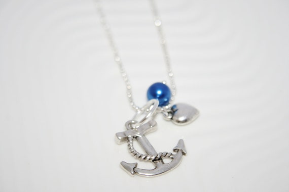 Fancy Sailor Anchor Charm Pendant Necklace 22 inch Chain Antique Silver You choose the Accent Pearl