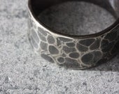 RING Hammered Silver Band  - Distressed Texture Ring -  Made to Order