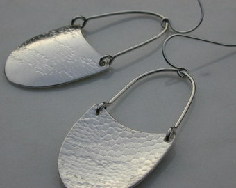 EARRINGS Silver Shield Dangles with Lace Texture  - Made to Order