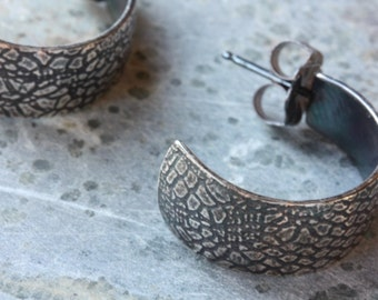 EARRINGS Silver Hoops with Lace Texture - Everyday Hoops - Edgy Jewelry - Made to Order