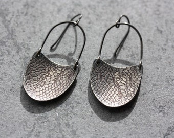 EARRINGS Edgy Silver Dangles - Lace Texture Earrings -  Snakeskin - Made to Order