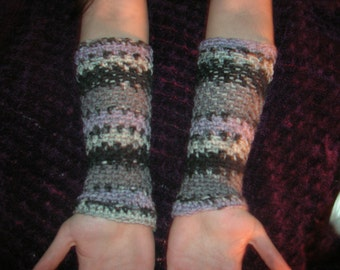 Arm Warmers, Soft and Thick Arm Warmers, Gray/White/Black Arm Warmers, Striped Arm Warmers, Crochet Arm Warmers, Wrist Warmers