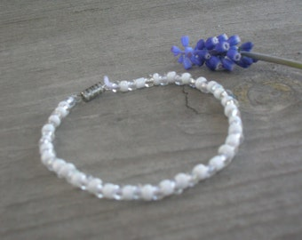 White Bead Bracelet Glass Beads Iridescent White and Clear Beads, With Clasp