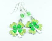 Four Leaf Clover Earrings, St. Patrick's Day Jewelry, Lucky Jewelry, Irish Jewelry, Green Jewelry, Dangle Earrings, Swarovski Crystals