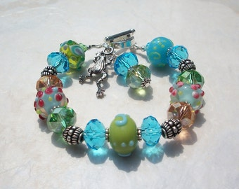Lampwork Glass Bracelet with Frog Charm