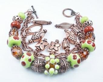 Lampwork Glass and Copper Bracelet, Multistrand Bracelet, Glass Bracelet, Copper Bracelet