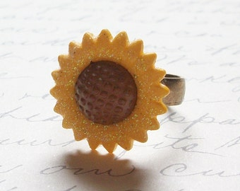 Sunflower Ring ~ Flower Jewelry ~ Adjustable Ring ~ Glitter Ring