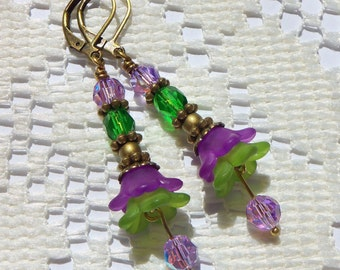 Purple and Green Petunia Earrings, Flower Earrings, Floral Earrings, Fashion Earrings, Swarovski Crystals