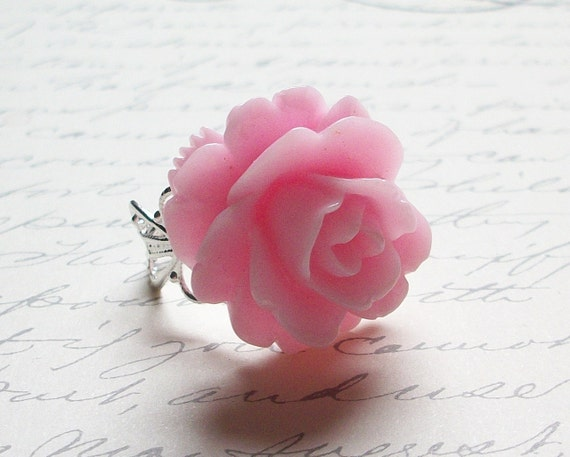CLEARANCE - Free Shipping - Large Pink Rose Ring - adjustable, vintage style
