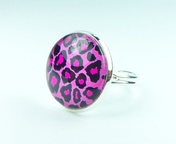 Pink Leopard Print Ring, Cat Jewelry, Pink Jewelry, Adjustable Ring