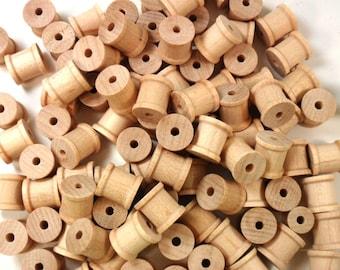 "50 Spools 1/2"" x 1/2"" Wood Thread Spools Unfinished"