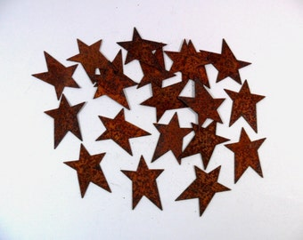 """25 Star Rusty Tin Cut Outs 1 1/4"""""""