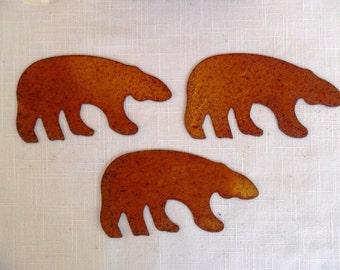 "5 Bears Rusty Tin Cut Outs 4 1/4"""