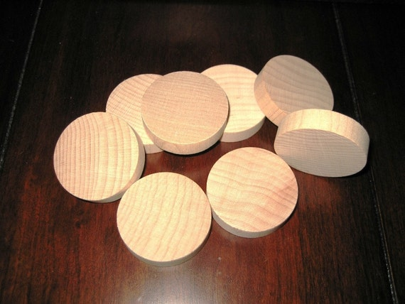 Disc Circle Wood Cutouts 1 1/2 Inch x 3/8 Pendant Magnet Circle 41 Pieces