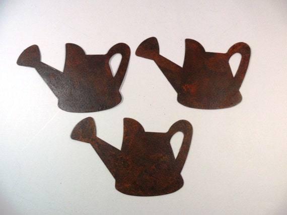Watering Can Rusty Tin 2 1/2 Inch 3 Pieces