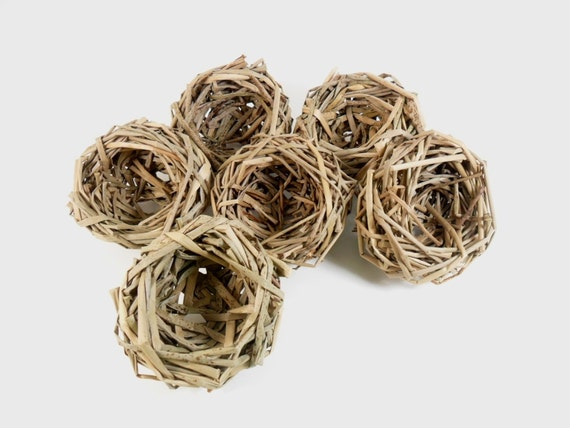 Bird Nest Grass 3 1/2-4 Inch Hand Made Set of 6