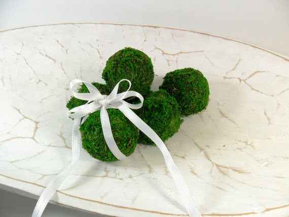 "RESERVED FOR LYNNR Moss Balls 2"" Handmade Decorative Preserved Moss Green Set of 18"