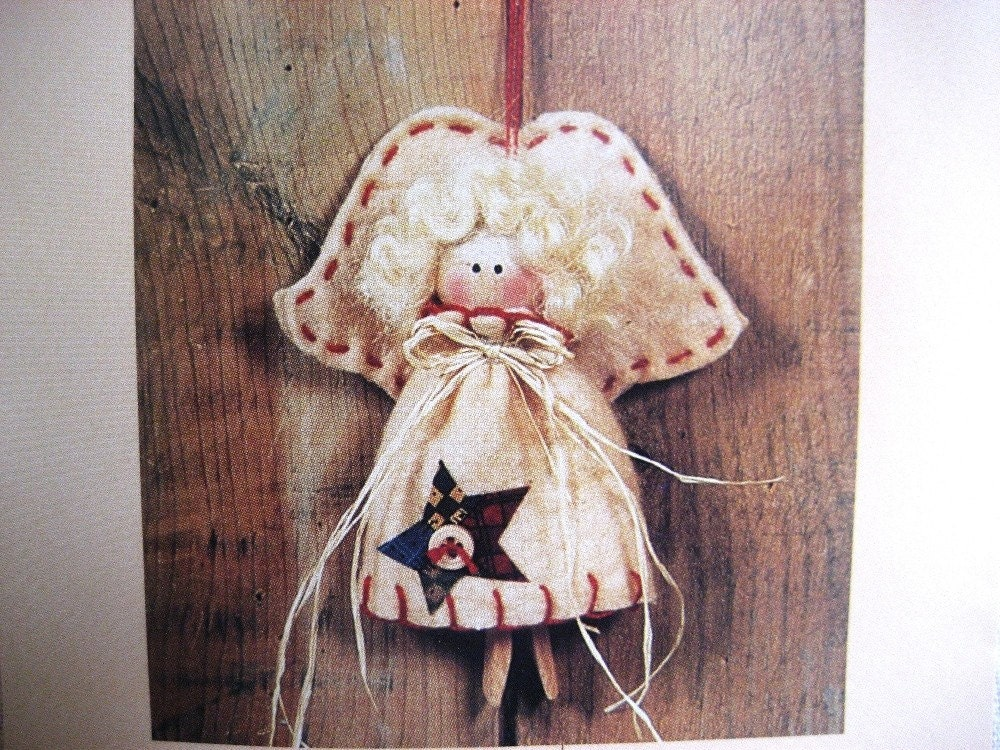 Pattern Angel Ornament Fabric Wood Ornament