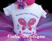 Butterfly Birthday Outfit Set With Personalized Shirt --1st 2nd 3rd Birthday -- All Sizes 6 9 12 18 24 M 2T 3T 4T -- Birthday, Photo