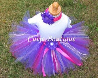 2pc Set Pink Purple TUTU Flower HEADBAND... All Sizes 3 6 9 12 18 24 Months 2T 3T 4T ----- Birthday, Photo, Holidays, Wedding, Dress Up