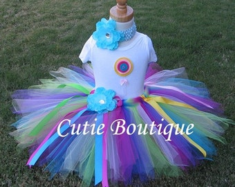 RAINBOW LOLLIPOP Birthday TUTU Set With 3D Lollipop Shirt--- All Sizes 6 9 12 18 24 Months 2T ----Birthday, Photo, Holidays, Dress Up