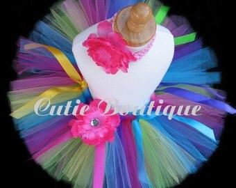 Rainbow Tutu Flower HEADBAND Set ------- All Sizes 6 9 12 18 24 Months 2T 3T 4T 5T--------Birthday, Photo, Holidays, Dress Up