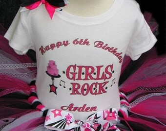 PopStar RockStar Girls Rock Birthday Outfit Set With Personalized Shirt ---All Sizes 6 9 12 18 24 Months 2T 3T 4T--- Birthday,Photo