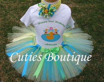 Rubber Ducky Birthday Outfit Set With Personalized Shirt -- All Sizes 6 9 12 18 24 Months 2T 3T 4T ----Birthday, Photo, Dress Up