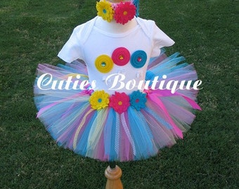 CandyLand  Birthday Outfit Set With TUTU And 3D LOLLIPOPS Shirt--- All Sizes 6 9 12 18 24 M 2T 3T 4T ----Birthday, Photo, Holidays, Dress Up