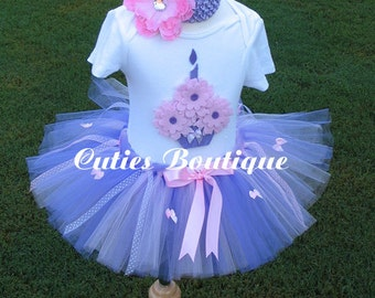 Pink Lavender Birthday Tutu Set  With 3D Cupake Shirt -- Custom Sizes 3 6 9 12 24 Months 2T 3T 4T---Birthday, Photo, Holidays, Props