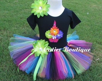 Rainbow Cupcake Birthday Set With 3D CUPCAKE Shirt --All Sizes 6 9 12 18 24 Months 2T 3T 4T -- Birthday, Photo, Holidays