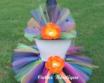 Rainbow Spider  Witch --All Sizes 6 9 12 18 24 Months 2T 3T 4T -- Birthday, Photo, Holidays, Dress Up, Halloween Costume
