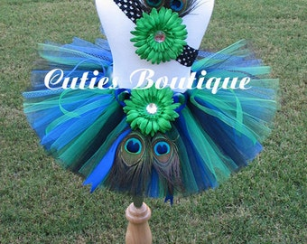 PEACOCK Tutu Headband Set ---All Sizes 6 9 12 18 24 Months 2T 3T 4T----Birthday, Photo, Holidays Picture
