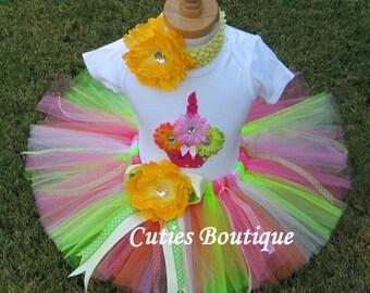 CUPCAKE Birthday TUTU Set With 3D CUPCAKE Shirt --All Sizes 6 9 12 18 24 Months 2T 3T 4T --Birthday, Photo, Holidays, Dress Up