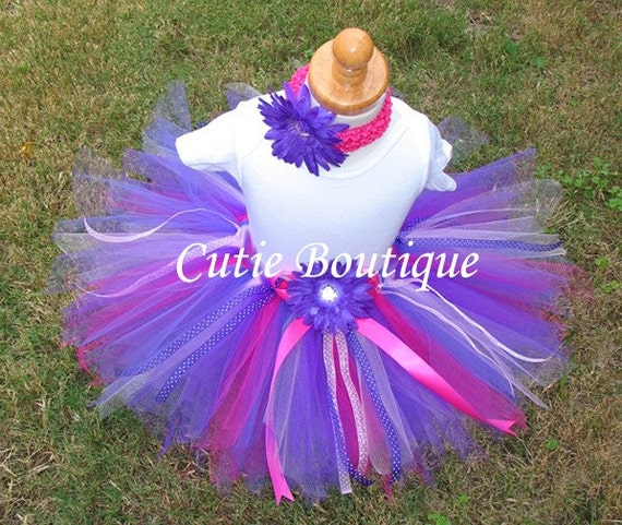 2pc Set Pink Purple TUTU Flower HEADBAND... All Sizes 3 6 9 12 18 24 Months 2T 3T 4T ----- Birthday, Photo, Holidays, Wedding, Dress Up