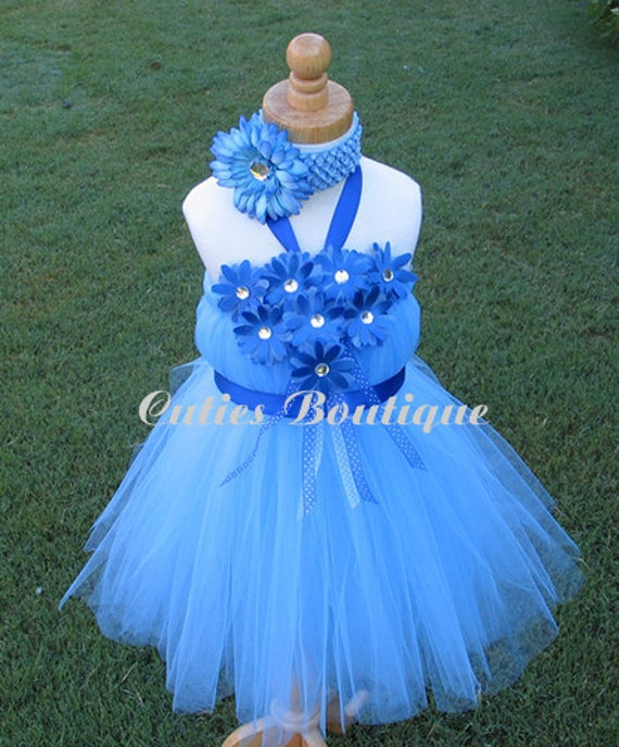 Items similar to malibu blue flower tutu dress sizes 6 12 for 12 month dresses for wedding