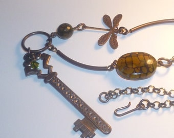 Steampunk Victorian gate key necklace- N005