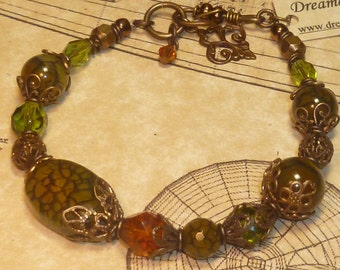 Antique brass vintage eclectic toggle bracelet BR009
