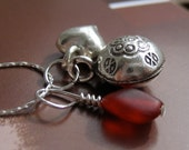 Silver Charm Necklace w Chiming Charm and Red Bead on Sterling Silver Chain