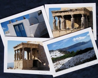 Greece Photographs, Acropolis Photos, Athena Nike Temple, 4 Travel Note Cards, Gift Under 15, Greek Temple Photography, Santorini Art