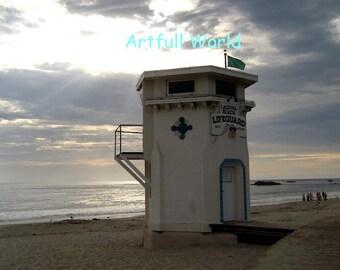 Laguna Beach, Main Beach, Lifeguard Tower, Fine Art Photograph 8 x 10, Sunset Picture, Beach Photo, Travel Photography, Seascape, California