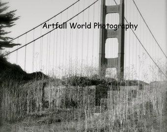 Golden Gate Bridge, Black and White, Original Photograph, San Francisco, 8 x 10 Picture, Living Room Art, Forgotten Places, Abandoned, bnw