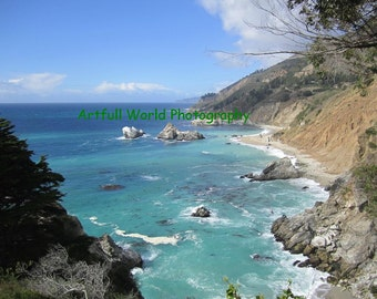 Julia Pfeiffer Burns Beach, Big Sur California, Central Coast Photo, Photograph 8x10, Pacific Ocean Picture, Gift Under 25, Travel Art