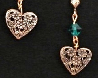 Copper Heart Earrings with Flowers and Blue Green Crystals