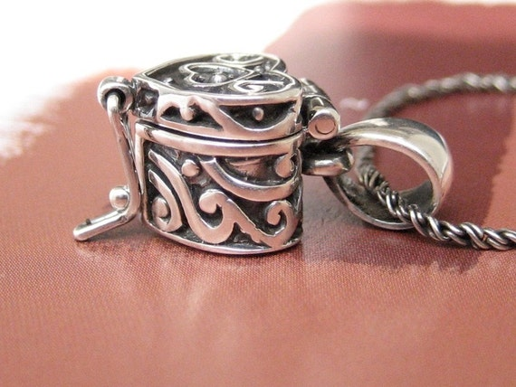 Heart Locket Prayer Box Necklace in Sterling Silver  w Sterling Silver Rope Chain