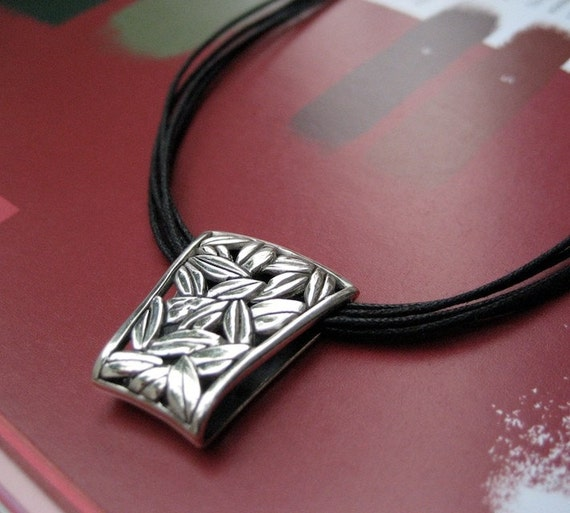 Modern Sterling Silver Necklace with Asian Inspired Ornate Leaf Pendant, Statement Piece. Gift For Her. Gift Under 100