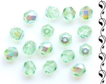 Fire Polished Beads 7 mm or 6 mm Light Green AB