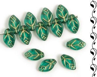 Czech glass leaves 12x7 mm brilliant emerald green, golden inlays 20 pcs